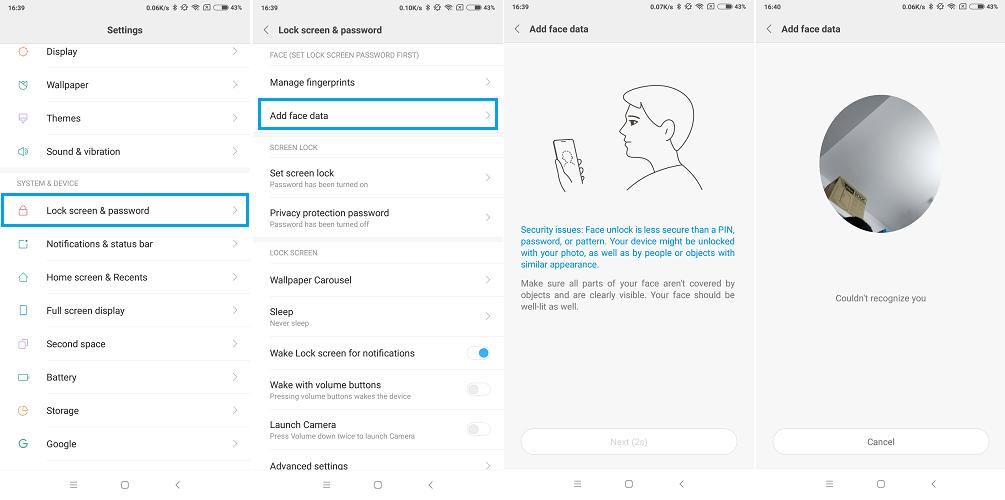 How to Setup Face Unlock on Xioami Phones, Mi A1, Mi MIX 2